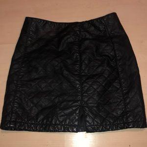 Forever 21 Black Pleated Leather Skirt